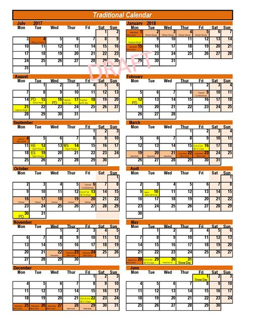 District Calendar Information  Sample Calendars