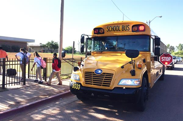 School Bus Dropping off Students