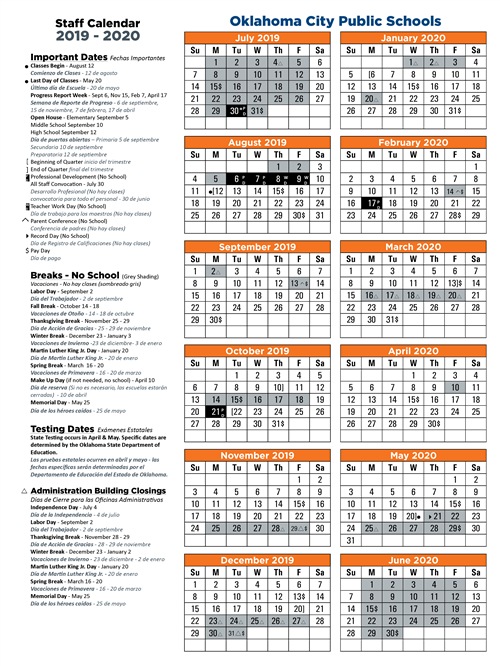 Okcps Calendar 2019 All Staff / Calendars